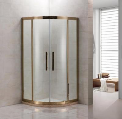 Душевой уголок Grossman Pragma PR-100G, 100 x 100 см четверть круга, стекло прозрачное, цвет профиля - золото