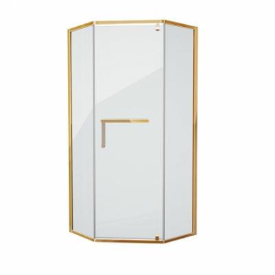 Душевой уголок Grossman Pragma PR-90GD, 90 x 90 см пятиугольный, стекло прозрачное, цвет профиля - золото