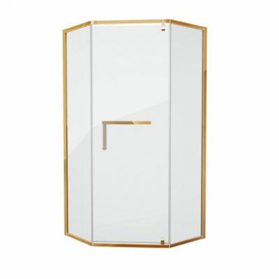 Душевой уголок Grossman Pragma PR-100GD, 100 x 100 см пятиугольный, стекло прозрачное, цвет профиля - золото