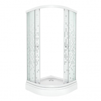 Душевой уголок Triton Стандарт Мозаика А 90 x 90 см, четверть круга, стекло с узором, низкий поддон, сифон