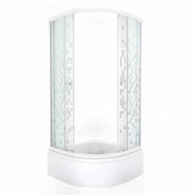 Душевой уголок Triton Стандарт Мозаика В 90 x 90 см, четверть круга, стекло с узором, средний поддон, сифон