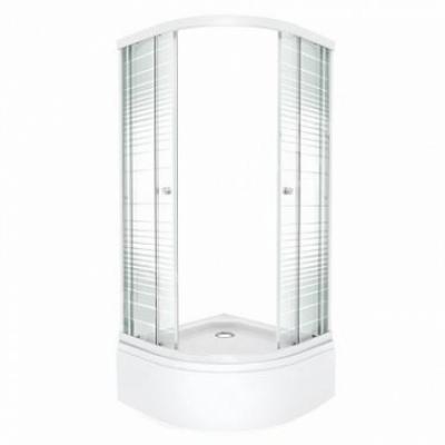 Душевой уголок Triton Стандарт Полосы В 100 x 100 см, четверть круга, стекло с узором, средний поддон, сифон