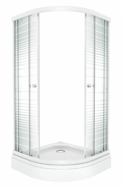 Душевой уголок Triton Стандарт Полосы А 90 x 90 см, четверть круга, стекло с узором, низкий поддон, сифон