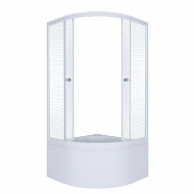 Душевой уголок Triton Стандарт Полосы Б 90 x 90 см, четверть круга, стекло с узором, высокий поддон, сифон
