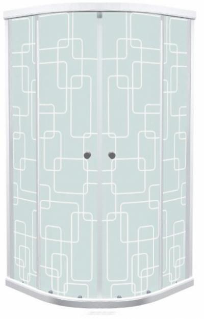 Душевой уголок (ширма) Triton Стандарт Квадраты 100 x 100 см, четверть круга, стекло с узором