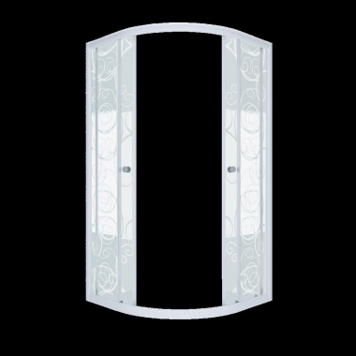 Душевой уголок (ширма) Triton Стандарт Узоры 90 x 90 см, четверть круга, стекло с узором