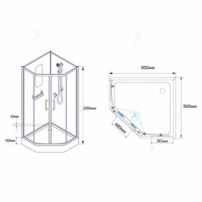 Душевая кабина RGW AN-057, 90 x 90 см, профиль - хром
