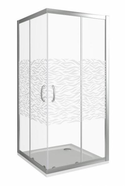 Душевое ограждение Good Door Infinity CR-90-W-CH 90 х 90 х 185 см, ИН00059, стекло прозрачное с рисунком Волна, хром