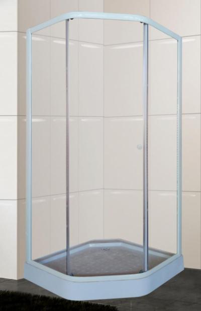 Душевой уголок Parly ZEP 91 90 х 90 см пятиугольный, стекло прозрачное, профиль белый