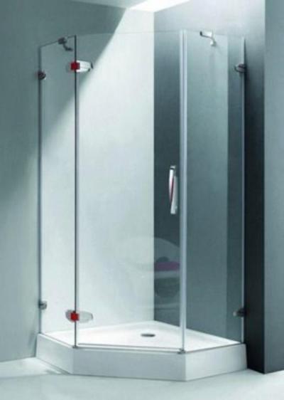 Душевой уголок RGW SA-81, 02038199-11, 90 х 90 см трапеция, стекло прозрачное, хром/красный