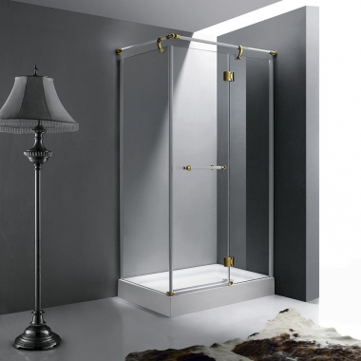 Душевой уголок RGW VI-41, 02044190-18, 90 х 100 см прямоугольный, стекло прозрачное, белый/золото