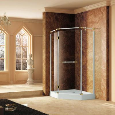 Душевой уголок RGW VI-81, 02048100-18, 100 х 100 см пятиугольный, стекло прозрачное, белый/золото