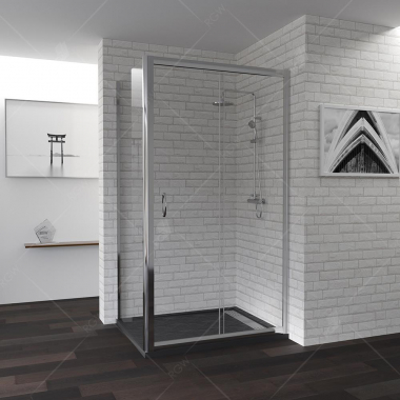 Душевой уголок RGW PA-145, 020814590-11, 100 x 90 см, дверь раздвижная, стекло прозрачное, профиль хром