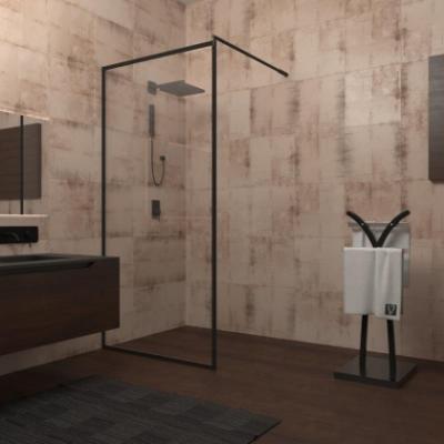 Душевой уголок Veconi Korato KR-71, 90 x 185 см, профиль черный, стекло прозрачное