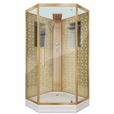 Душевая кабина Niagara Lux NGL-7717GBK без крыши, 100 x 100 см, профиль золото