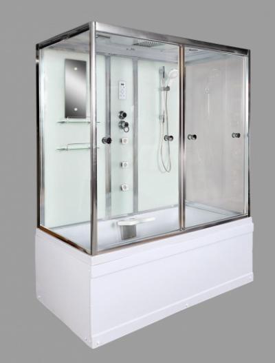 Душевая кабина Deto V150, 150 x 85 см, с электрикой, гидромассажем, с сиденьем, стекла прозрачные