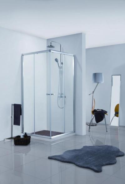 Душевой уголок Bravat Drop BS090.2200A, 90 x 90 x 200 см, двери раздвижные, стекло прозрачное, хром