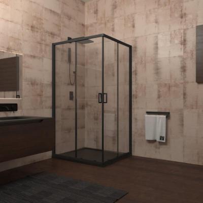 Душевой уголок Veconi Rovigo RV-13, 90 x 90 см, профиль черный, стекло прозрачное
