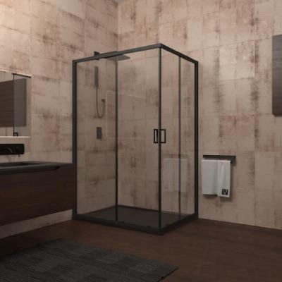 Душевой уголок Veconi Rovigo RV-14, 100 x 80 см, профиль черный, стекло прозрачное