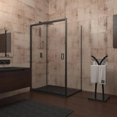 Душевой уголок Veconi Rovigo RV-25B, 100 x 80 см, профиль черный, стекло прозрачное