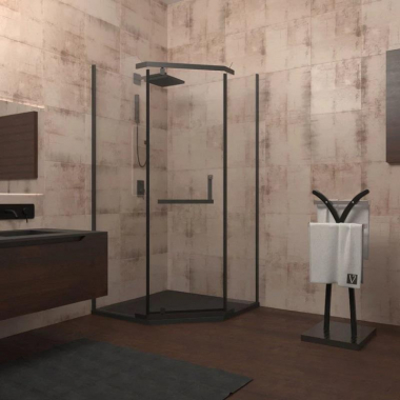 Душевой уголок Veconi Rovigo RV-36B, 90 x 90 см, профиль черный, стекло прозрачное