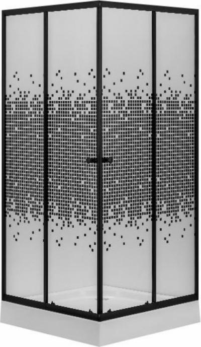Душевой уголок Niagara NG-008-14Q Black 80 х 80 см c низким поддоном, квадратный, черный