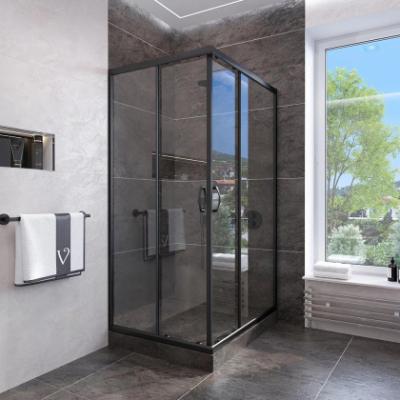 Душевой уголок Veconi Rovigo RV-113B, 80 x 80 см, профиль черный стекла прозрачные