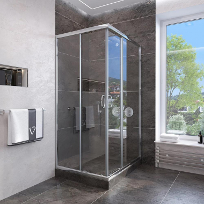 Душевой уголок Veconi Rovigo RV-113, 80 x 80 см, профиль хром стекла прозрачные