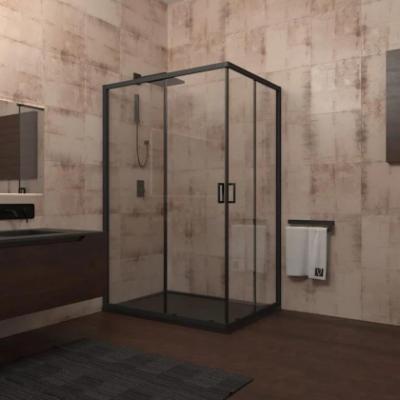 Душевой уголок Veconi Rovigo RV-14, 90 x 120 см, профиль черный, стекло прозрачное
