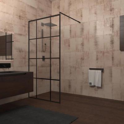 Душевой уголок Veconi Korato KR-80, 90 x 195 см, профиль черный, стекло прозрачное