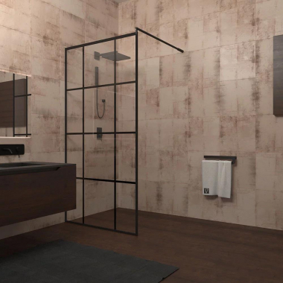 Душевой уголок Veconi Korato KR-80, 120 x 195 см, профиль черный, стекло прозрачное