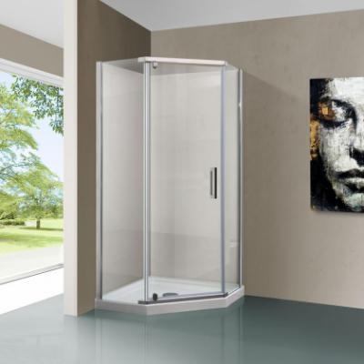 Душевой уголок Vincea Stresa VSP-1S100CL, 100 x 100 см, пятиугольный, дверь распашная, стекло прозрачное, хром
