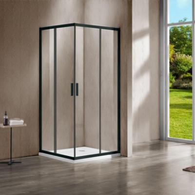Душевой уголок Vincea Garda VSS-1G8090CLB, 90 x 80 см, прямоугольный, дверь раздвижная, стекло прозрачное, черный