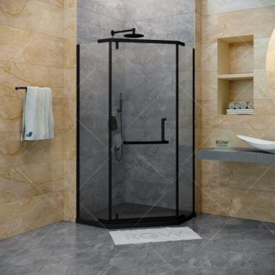 Душевой уголок RGW Hotel HO-081 B, 100 х 100 x 195 см, 350608100-24, трапеция, дверь распашная, стекло сатинат/матовое, черный